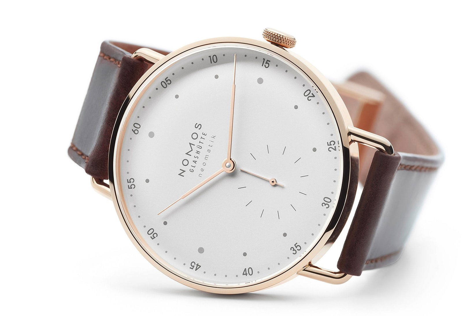 Now the Nomos Metro is available in solid 18k rose gold
